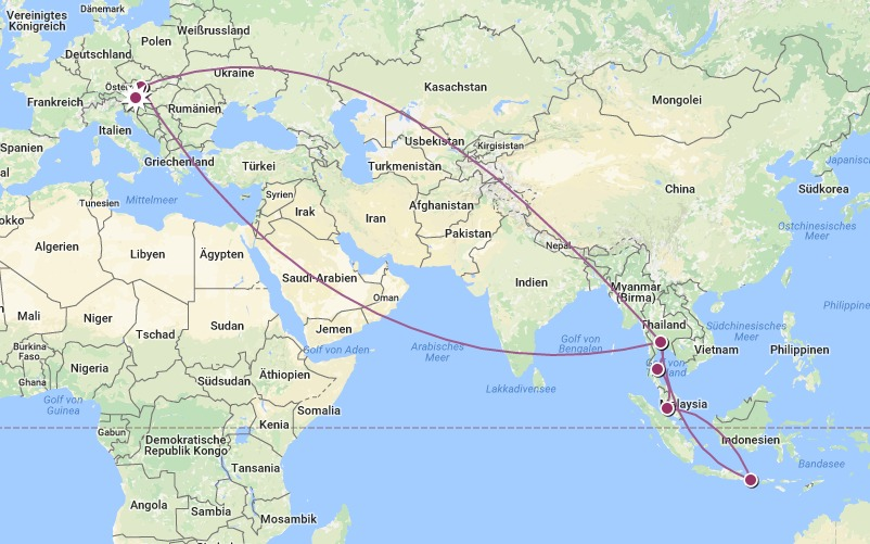 Asien Reiseroute