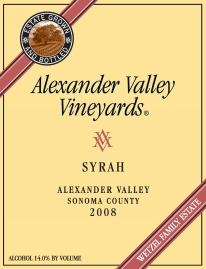 label for Alexander Vineyards Syrah 2008