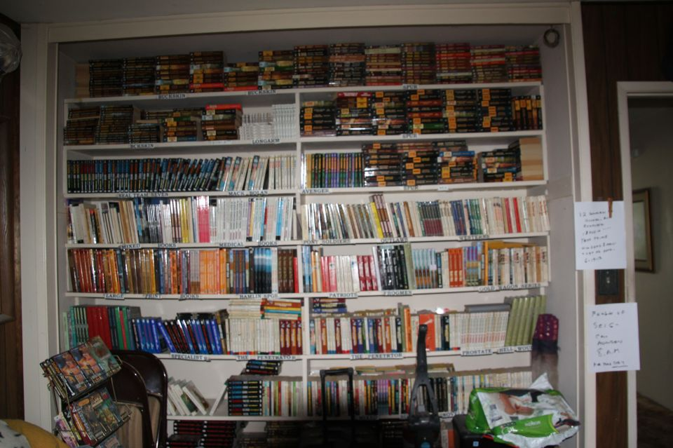 The closet where dad stores copies of his books. Yes, those are all his.