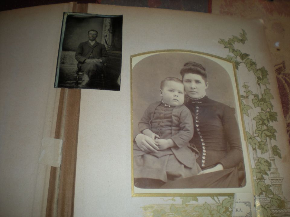 My Great Grandma Mary Eva (Meva) Burritt Jones Cunningham and Walter Jones, her first son by her first husband. Up in the corner is Sanford Jones, her first husband.