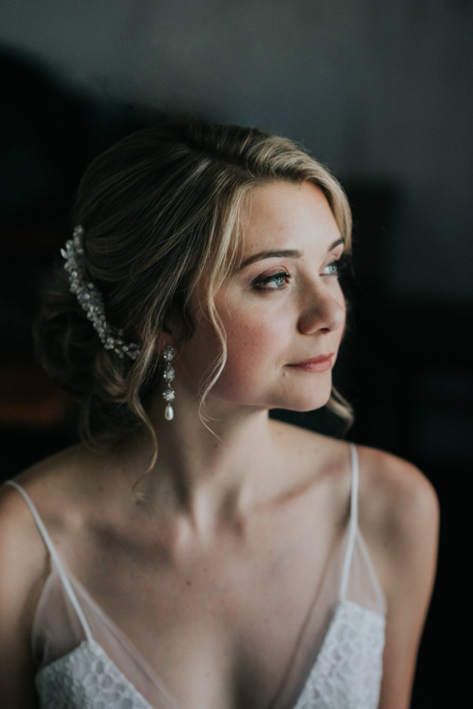 Moody Portrait of a bride at a Hubbard Lodge Wedding in Cold Spring, NY
