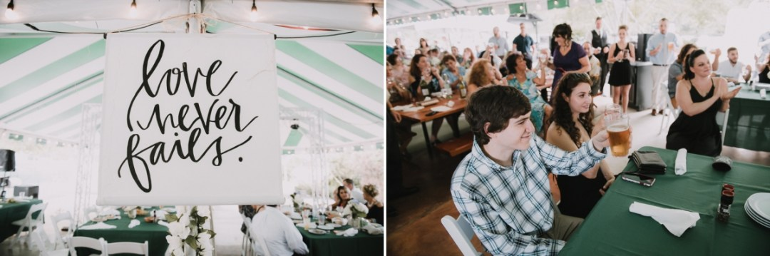 """""""Love Never Fails"""" sign and guest cheering at a Fishkill Golf Course wedding"""