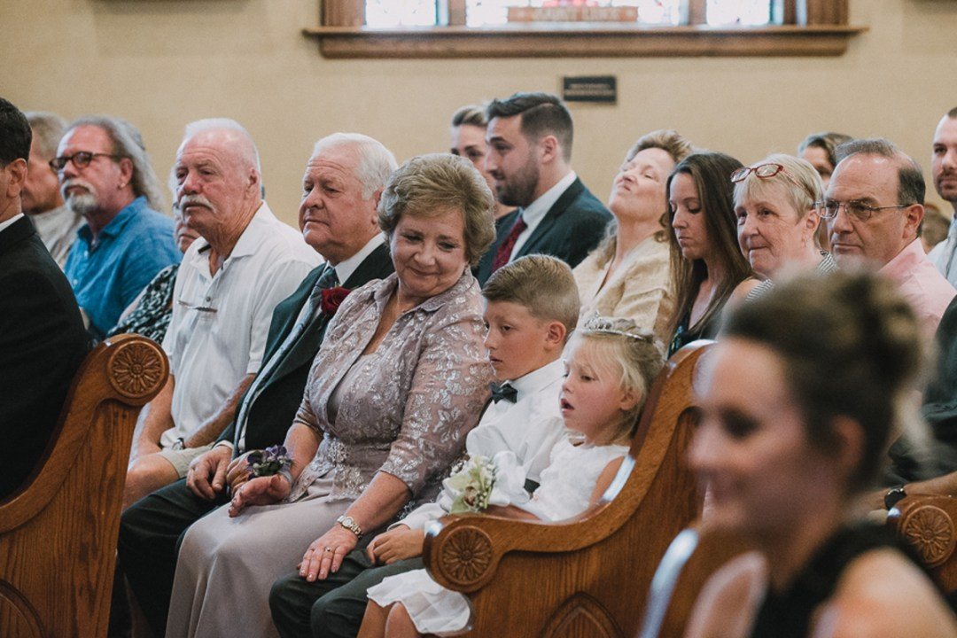 Mom of the groom at a Lady of Loretto Church wedding in Cold Spring, NY