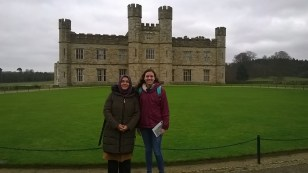 My friend Sumeyye and I in front of Leeds Castle