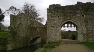 A view of the moat around the castle