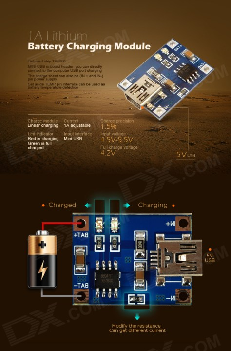 from http://www.dx.com/p/1a-lithium-battery-charging-module-blue-205188#.VJ8XvshzA