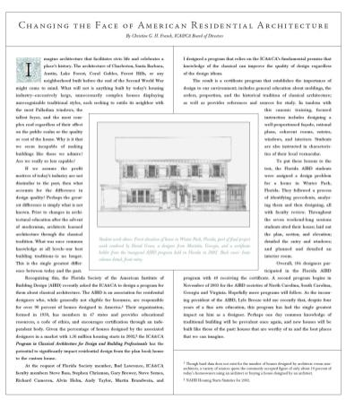Changing the Face of American Residential Architecture, published in Home Design Journal: The Magazine of the American Institute of Building Design, vol. 1, no. 2 (2004)