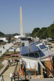 Solar Decahalon teams design and build houses on the Mall in Washington, D.C.