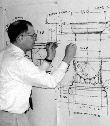 ICAA instructor Martin Brandwein teaching layout of the Doric Order
