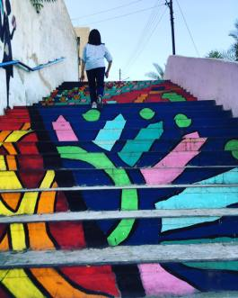 Painted stairs we walk up and down for exercise