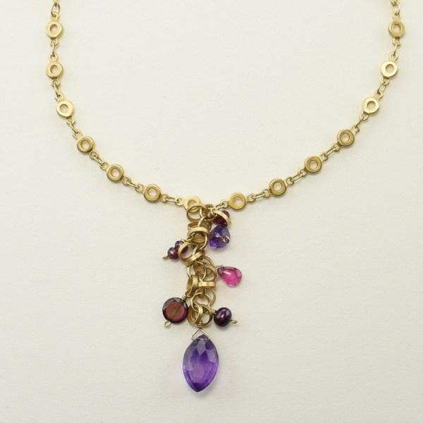 Multi Berry Gemstones Necklace in Matte Gold