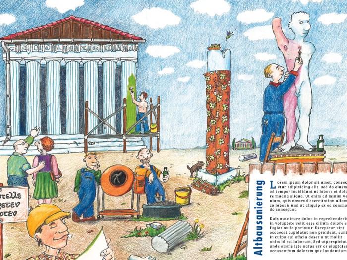 Illustration zum Thema Altbausanierung    KernGeschäft Christine Kern