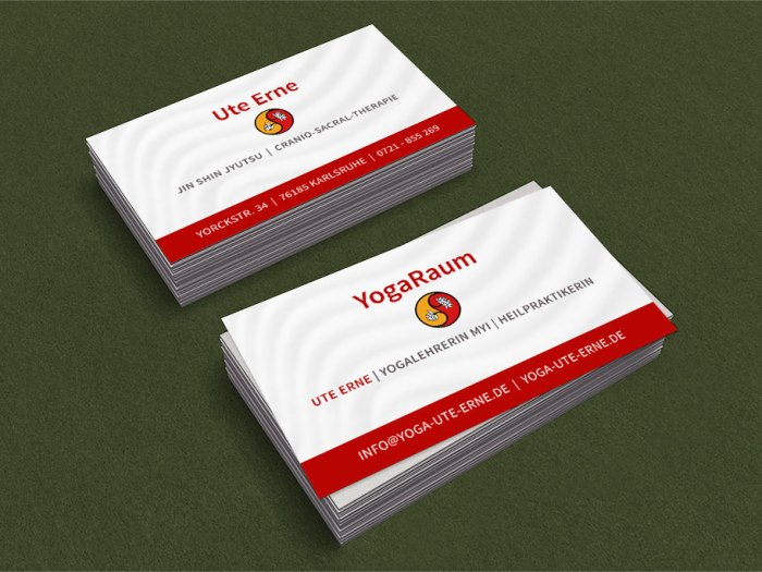 Visitenkarten für Ute Erne, Yogalehrerin MYI
