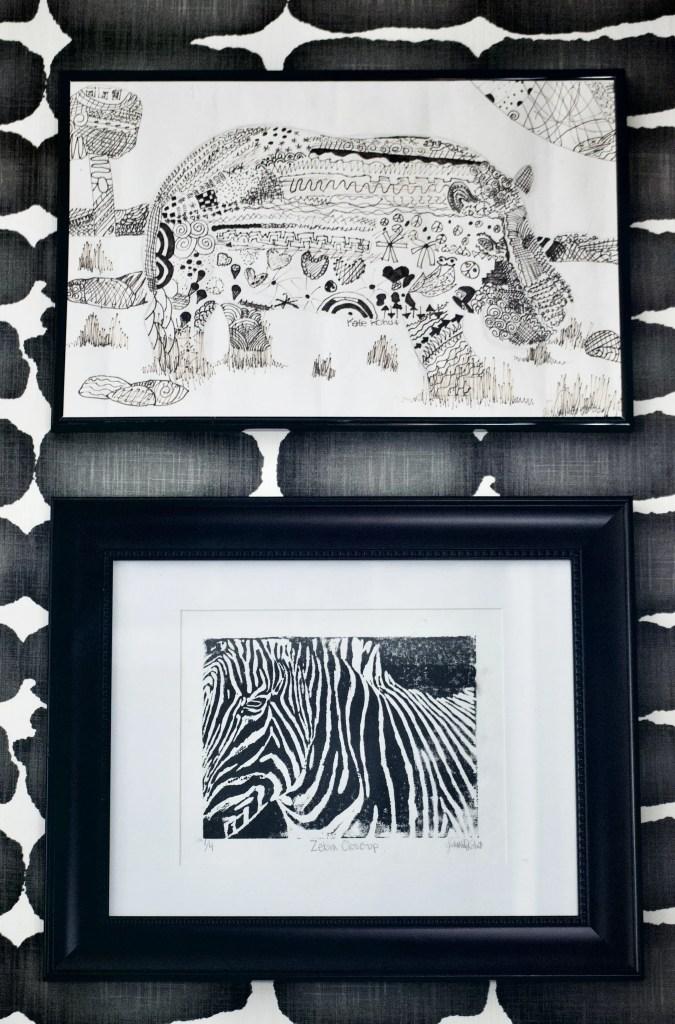 children's art, black and white art, ink drawing, linoleum block print, hippo, zebra, one room challenge, better homes and gardens, Christine Kohut Interiors, design ninja, project coast to coast, #ckprojectcoasttocoast