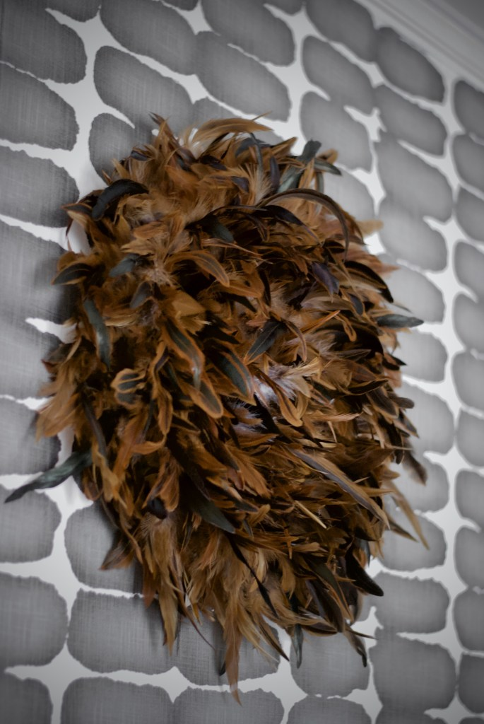 juju hat, Christine Kohut Interiors, design ninja, designninja, ORC, one room challenge, better homes and gardens, design blog, bedroom makeover, guest bedroom ideas, glue gun, feathers, brown and green feathers