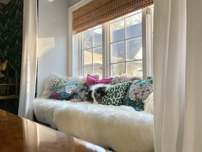 #CKdesignninja, window seat, sheepskin rug, snuggle, australian shepherd, throw pillows, mongolian sheepskin, ming dragon, Christine Kohut Interiors, flannel sheets, thread count, warp and weft, soft sheets, hotel bed, boll and branch, duvet, pillows, sheets, king size bed, mattress, organic, fair trade, buffalo check, percale, bedroom, interior design, bedding
