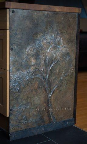 rendu béton ciré - fossile pour cuisine ouverte