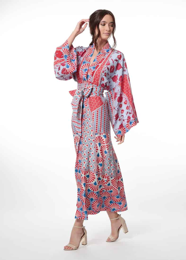 silk robe, long silk robe, christine lingerie, made in canada