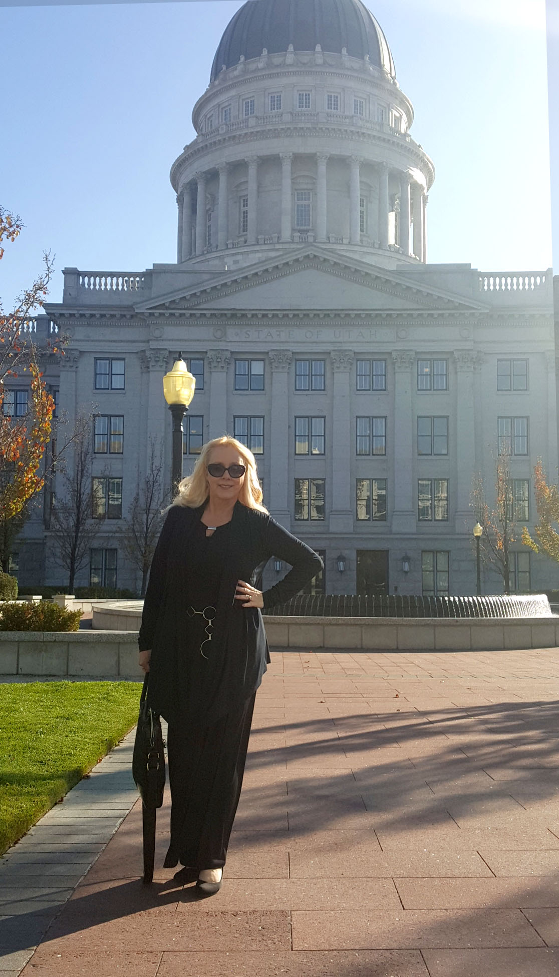 Christine Marie Katas at the Utah Capitol after giving a talk