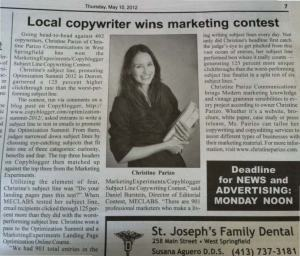 LOCAL COPYWRITER WINS MARKETING CONTEST (WEST SPRINGFIELD RECORD, MAY 10, 2012)