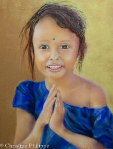 Pastel sec sur Pastelcard, d'après photo d'Alexandre Peplaw avec son aimable autorisation Petite fille de l'Uttar Pradesh , Namasté : le bonjour Indie