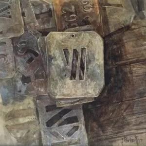 Christine Porter 'Woolstencils W-BKN' 2017 watercolour 16.5x16.5cm