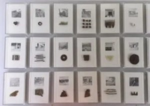 "Christine Porter ""A sense of place"" artist made Perspex boxes enclosing in each a pencil drawing and a related found object."