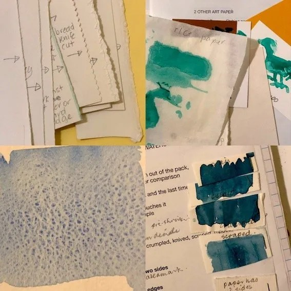"""A photo of several pages of tests including various cut edges, several sorts of papers, a sample of granulated blue on a rough surface and notes/samples about how paper changes. Samples all created by Chrsitine Porter in her workshop """"Paper for Artists"""""""