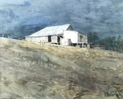 Watercolour painting by Christine Porter. Showing the exterior of a timber shearing shed. With slab walls in shadow and corrugated iron roof. The rest of the slab shed is not visible, so it looks like a small shed.