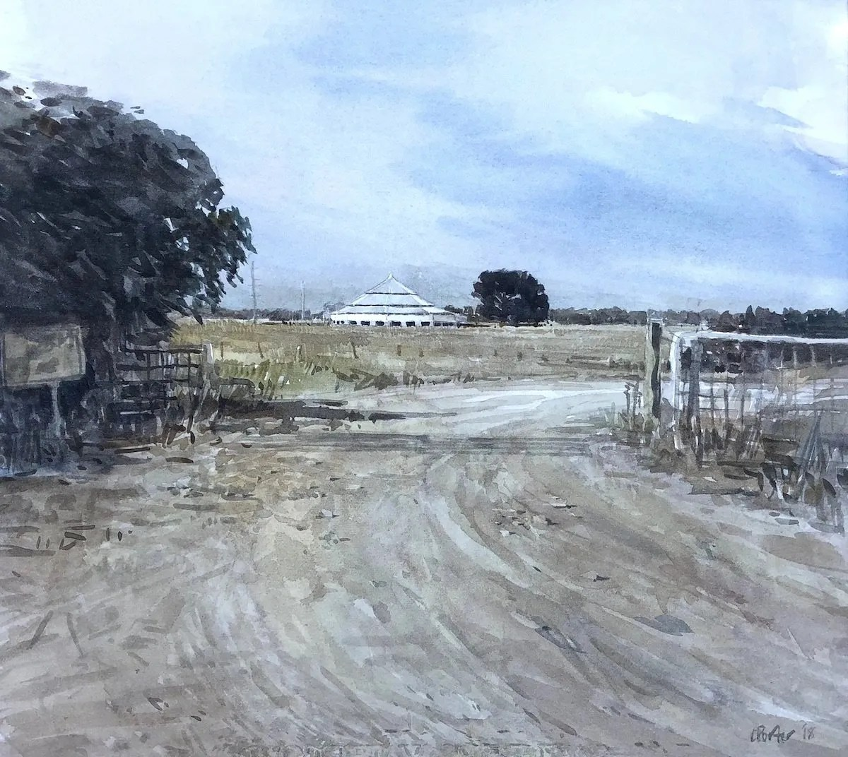 "Watercolour painting by Christine Porter showing a rad going through a gate and in the distance the shed at ""Deeargee"" Uralla."