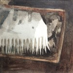 Watercolour painting by Christine Porter showing a box of combs and other shearing paraphenalia