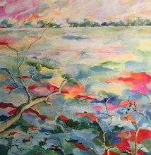 Lake Ainsworth, acrylic painting, Christine Read, landscape
