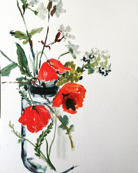 Gathered Wildflowers. Acrylic on paper. (Framed size 54 x 43 cm) $350.00