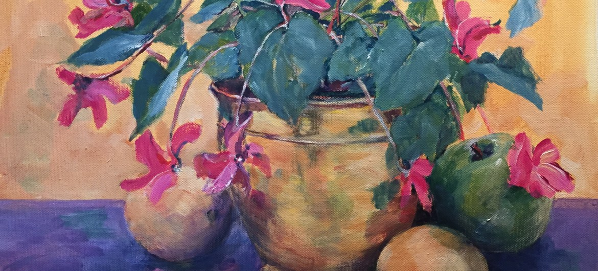 Demonstration painting from Art Retreat - Cyclamen in a Brass Bowl