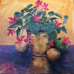 Demonstration painting from Art Retreat - Cyclamen in a Brass Bowl [SOLD]