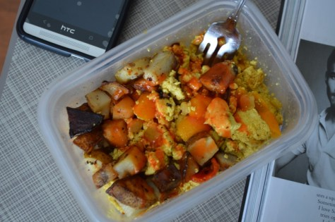 Lunch - Tofu scramble with roasted potatoes and Frank's hot sauce