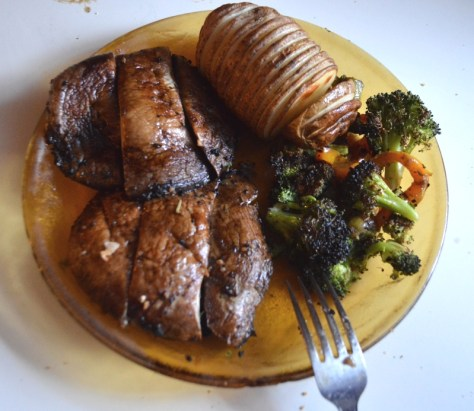 Dinner - 2 portobello mushrooms, roasted broccoli, and a baked potato
