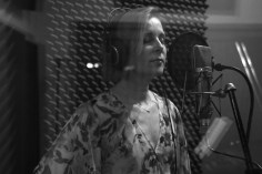 Christine Rosander recording a song from the Been A Long Time album in the recording studio.