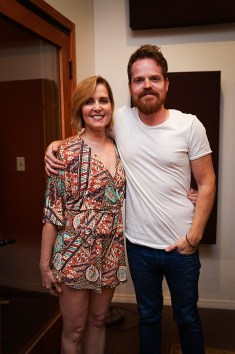 Singer songwriter Christine Rosander and band member Aaron.