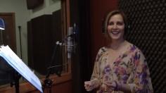 Singer songwriter Christine in the recording studio.