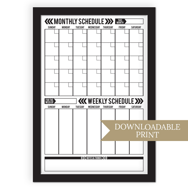 Monthly/Weekly Combination Schedule Board