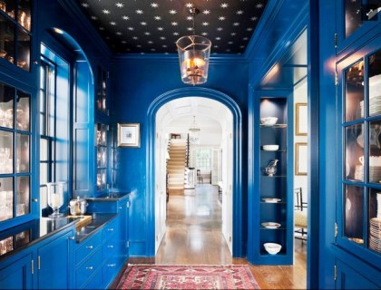 wallpapered ceiling_dark rooms_blue lacquered walls