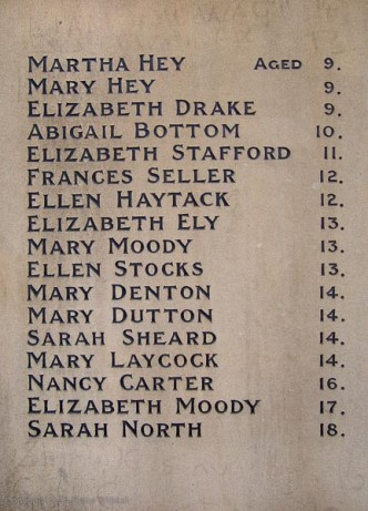 Memorial engraving to the girls who died in Atkinson's Mill Fire
