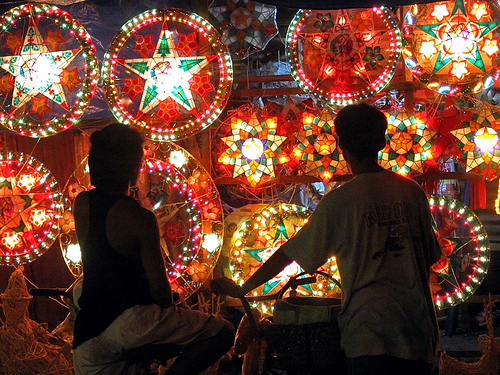 by the way filipinos also make parol using recycled materials out of candy wrappers plastic glasses papers shells and soft drinks