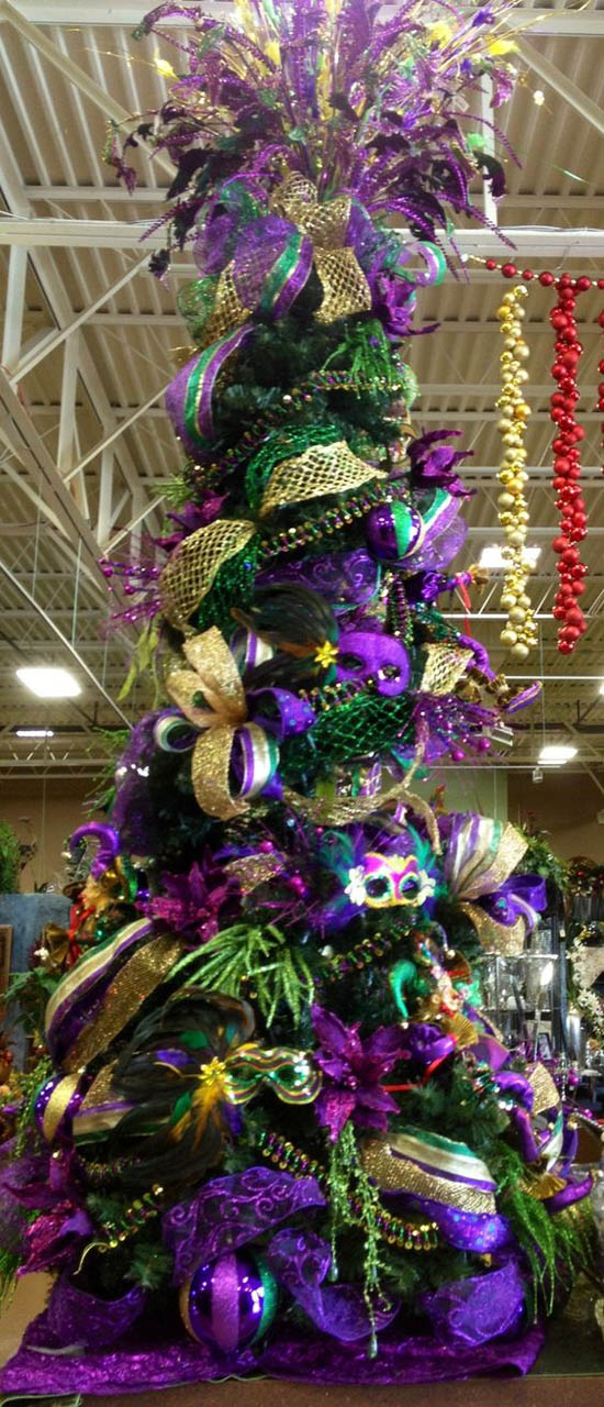 Christmas tree with purple and gold decorations