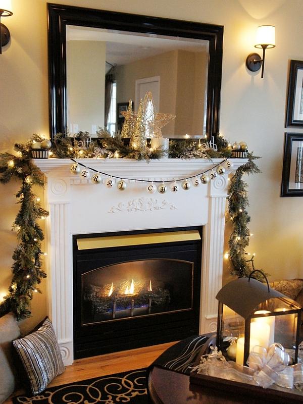 Christmas Decorations Fireplace Mantel