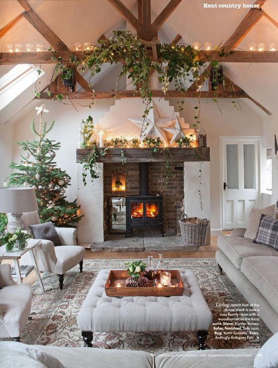 cosy living room with log burner grey dark wood floors most pinteresting christmas decoration ideas source