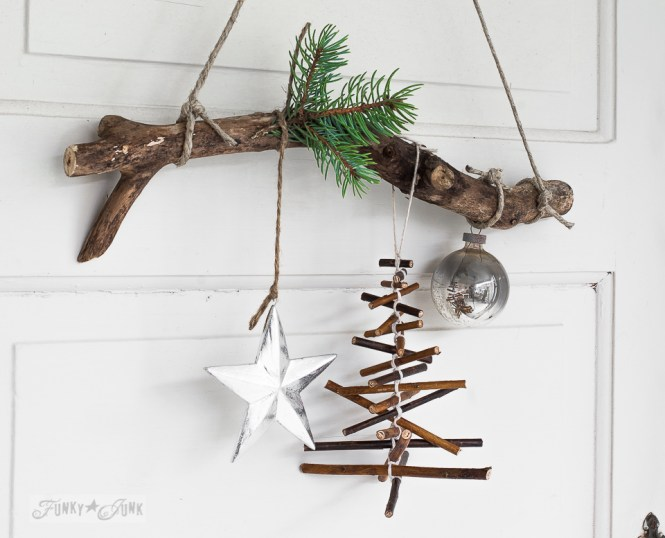 Handmade Christmas Decorations Made Of Branches And Burlap Fabric