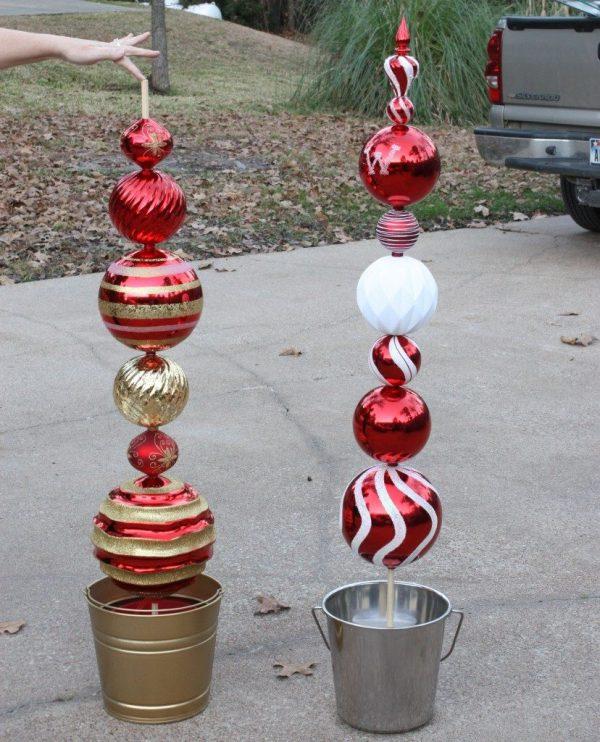 DIY Christmas Ornament Topiaries
