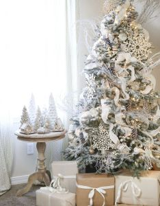 Christmas celebration also dreamy flocked tree decoration ideas rh greetings
